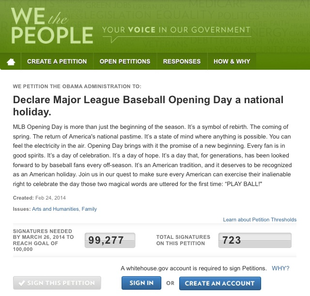 Opening Day Petition